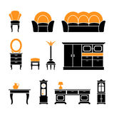 Set icons of retro furniture and home accessories. Isolated on white royalty free illustration