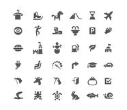 Set of icons. Road and animals. Carousel skates snowman burger and tower. Black and white isolated Royalty Free Stock Images