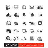 Set of 25 icons safety lock data cloud and network Stock Photos