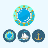 Set icons with sailing vessel, anchor , porthole Royalty Free Stock Photos