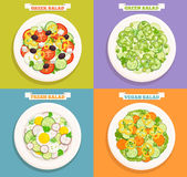 Set of icons of salads. Stock Image