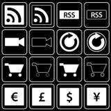 Set of icons (sale, money). Set white of icons on a black background Royalty Free Stock Photos