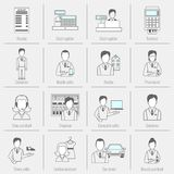 Set icons salesman flat line Stock Images