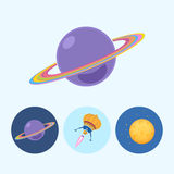 Set icons with saturn, spaceship, moon royalty free illustration