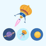 Set icons with saturn, spaceship, moon, vector illustration Stock Photo