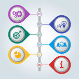 Set of icons with scheme and steps of work, infographic concept. Set of icons in colorful buttons with scheme and steps of work, infographic concept. Mechanical Royalty Free Stock Photo
