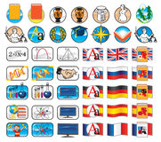 Set of icons for school Stock Photo