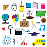 Set of 28 icons of the school. Bus bulb, scissors, cap, glasses, pencil, pen, the atom, notebook Stock Photo