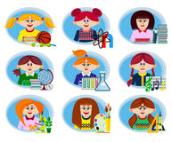 Set icons school theme Stock Images
