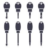 Set icons of screwdrivers Royalty Free Stock Images