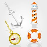 Set of icons from the sea. Including lighthouse, life float, compass and anchor, vector illustration Stock Photo