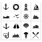 Set icons of sea, beach and travel. Isolated on white stock illustration