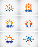 Set icons of sea navigation. Stock Photos