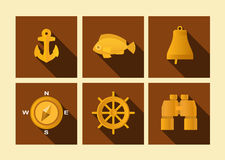 Set of icons of sea subject in flat style, vector illustration Royalty Free Stock Images