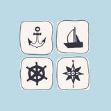 Set of icons on a sea theme drawn by hand. Set of vector icons on a sea theme painted by hand Stock Photography