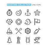 Set of icons sea. Vector icons maritime. Sea black lined icons. Icons in a flat style. Icons on the marine theme. Simplified icons. Isolated on white Stock Photo