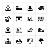 Set icons of seaport. Isolated on white Royalty Free Stock Images