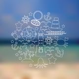 Set icons on seascape background. Vector Royalty Free Stock Photography