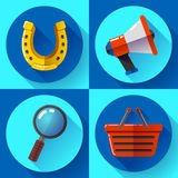 Set icons SEO marketing. Flat design style. Royalty Free Stock Photos