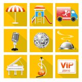 Set of icons for the service of the restaurant is a Grand piano, dance floor, karaoke, Royalty Free Stock Images