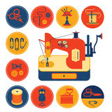 Set of icons with sewing and tailoring symbols. Set of icons with sewing and tailoring symbols, detailed sewing machine illustration Stock Image