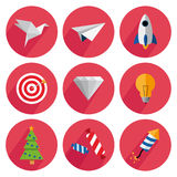 Set icons with shadow on a red background. Origami, airplane, rocket, target, diamond, fir-tree, candy, firecracker Royalty Free Stock Photography