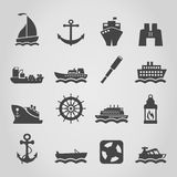 Ship an icon. Set of icons of the ships. A vector illustration Royalty Free Stock Photo