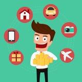 Set icons shopping . Money concept. Businessman holding money. Royalty Free Stock Image