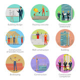 Set of icons showing different building process. Set of icons of building process. Building design, pouring concrete, construction investment, construction of Stock Image