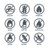Set of icons with sign meaning absence of sugar gluten. Set of icons with round sign meaning absence of sugar or gluten in food, no organic soy in product, don`t Royalty Free Illustration
