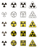 Set of icons with sign of radiation. Collection of hazard symbols. Stock Photos