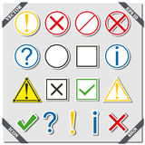 Set of icons and signs, vector illustration. Stock Photo
