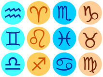 Set of icons with signs of the zodiac. Stock Image