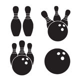 Set of icons silhouettes of bowling balls and bawling pins. Vector illustration. Set of icons silhouettes of bowling balls and bawling pins. Templates of sports Stock Photo