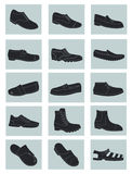 Mens shoes. Set of icons of silhouettes of mens shoes Royalty Free Stock Image