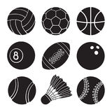 Set of icons silhouettes of sports balls. Vector illustration. Silhouettes of football, soccer, basketball, volleyball, baseball, tennis, badminton, bowling and Royalty Free Stock Photography
