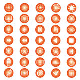 Set of icons for a site. Orange, vector Royalty Free Stock Photos