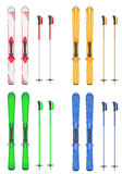 Set icons skis mountain vector illustration Royalty Free Stock Image