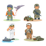 Set icons of small children different professions Stock Photos