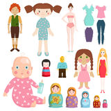 Set icons small girls dolls playing with toys handmade happy children character and game gift dolly cute play baby Stock Photography