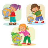 Set icons small girls playing with globe Royalty Free Stock Photography