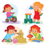 Set icons small girls playing with toys Stock Photography