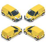 Set of icons small truck for transportation cargo. Van for the carriage of cargo. Delivery car. Vector flat 3d isometric Stock Image
