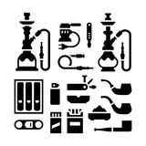 Set icons of smoking equipment and accessories Royalty Free Stock Images