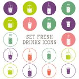 Set of icons - smoothie, coffee to go, frappe, juice, cocktail, lemonade,  mason jar, other fresh drinks, bottle. Royalty Free Stock Photography
