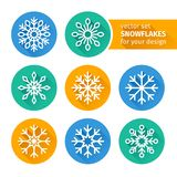 Set of icons snowflakes flat design 2 Stock Photography