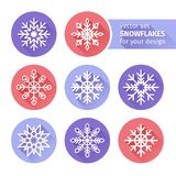 Set of icons snowflakes flat design 1 Stock Photo