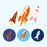 Set icons with   spaceships, rockets, vector illustration Stock Photo
