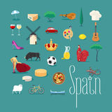 Set of icons with Spanish landmarks in vector Royalty Free Stock Photos