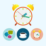 Set icons with  speech bubble , cup ,alarm clock Stock Photos